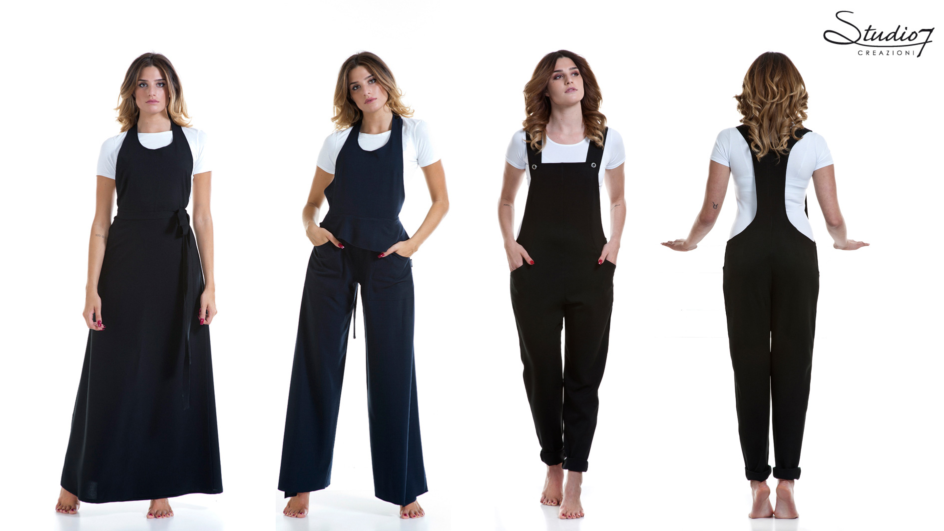 Suits and wraparound skirts for hairdressers and beauticians